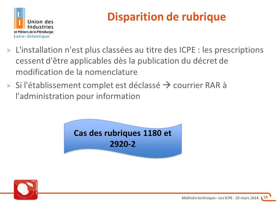 Matinée technique– Les ICPE - 20 mars 2014 18 Disparition de rubrique > L'installation n'est plus classées au titre des ICPE : les prescriptions cesse