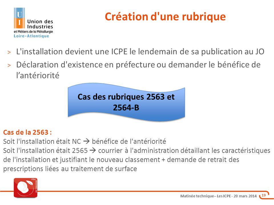 Matinée technique– Les ICPE - 20 mars 2014 19 Création d'une rubrique > L'installation devient une ICPE le lendemain de sa publication au JO > Déclara