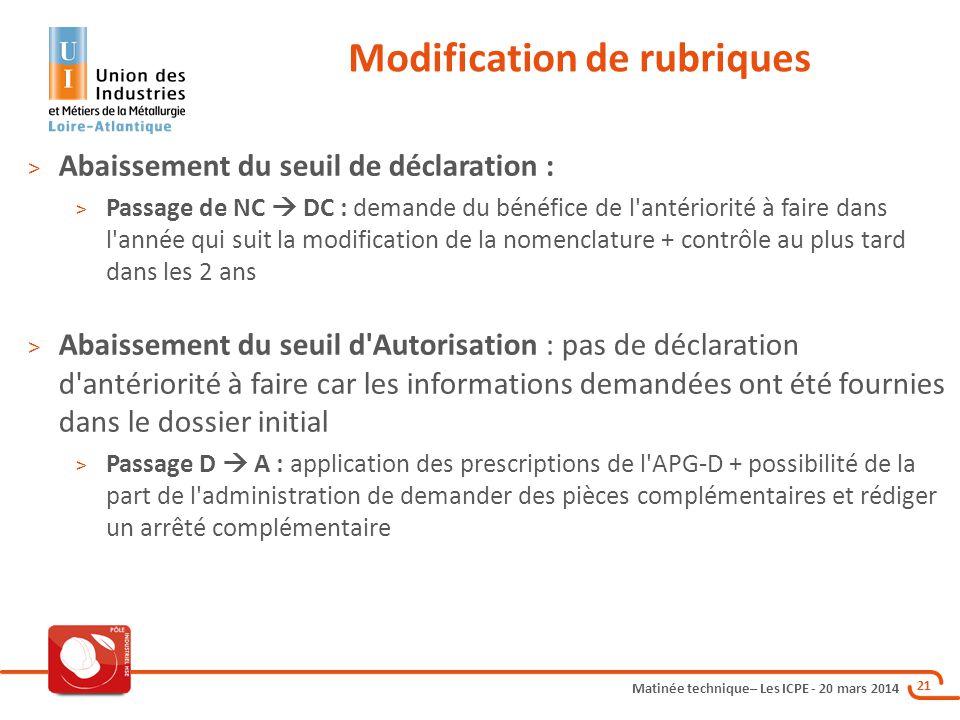 Matinée technique– Les ICPE - 20 mars 2014 21 Modification de rubriques > Abaissement du seuil de déclaration : > Passage de NC  DC : demande du béné