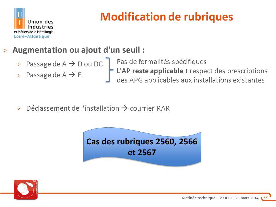 Matinée technique– Les ICPE - 20 mars 2014 22 Modification de rubriques > Augmentation ou ajout d'un seuil : > Passage de A  D ou DC > Passage de A 