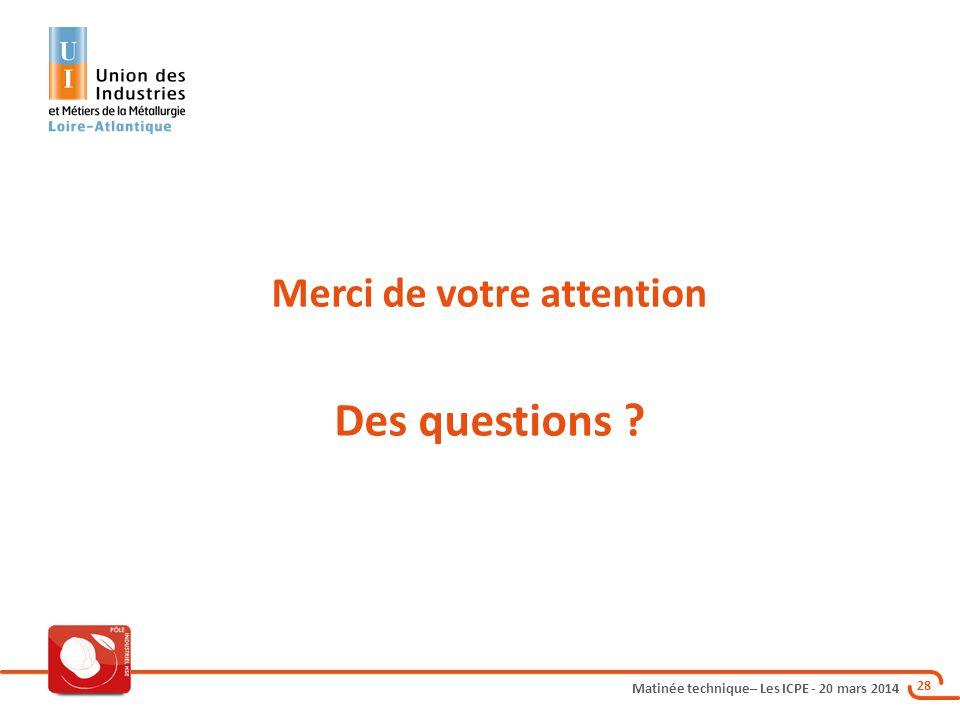 Matinée technique– Les ICPE - 20 mars 2014 28 Merci de votre attention Des questions ?