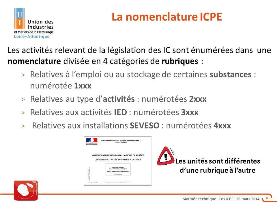 Matinée technique– Les ICPE - 20 mars 2014 4 Les activités relevant de la législation des IC sont énumérées dans une nomenclature divisée en 4 catégories de rubriques : > Relatives à l'emploi ou au stockage de certaines substances : numérotée 1xxx > Relatives au type d'activités : numérotées 2xxx > Relatives aux activités IED : numérotées 3xxx > Relatives aux installations SEVESO : numérotées 4xxx La nomenclature ICPE Les unités sont différentes d'une rubrique à l'autre
