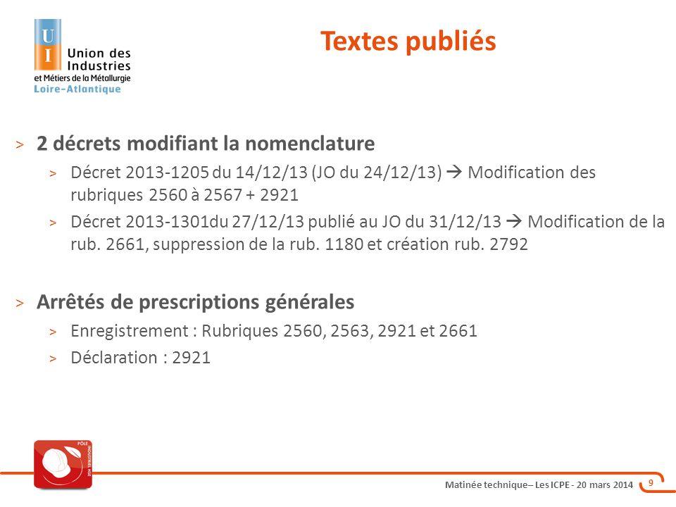 Matinée technique– Les ICPE - 20 mars 2014 9 Textes publiés > 2 décrets modifiant la nomenclature > Décret 2013-1205 du 14/12/13 (JO du 24/12/13)  Modification des rubriques 2560 à 2567 + 2921 > Décret 2013-1301du 27/12/13 publié au JO du 31/12/13  Modification de la rub.