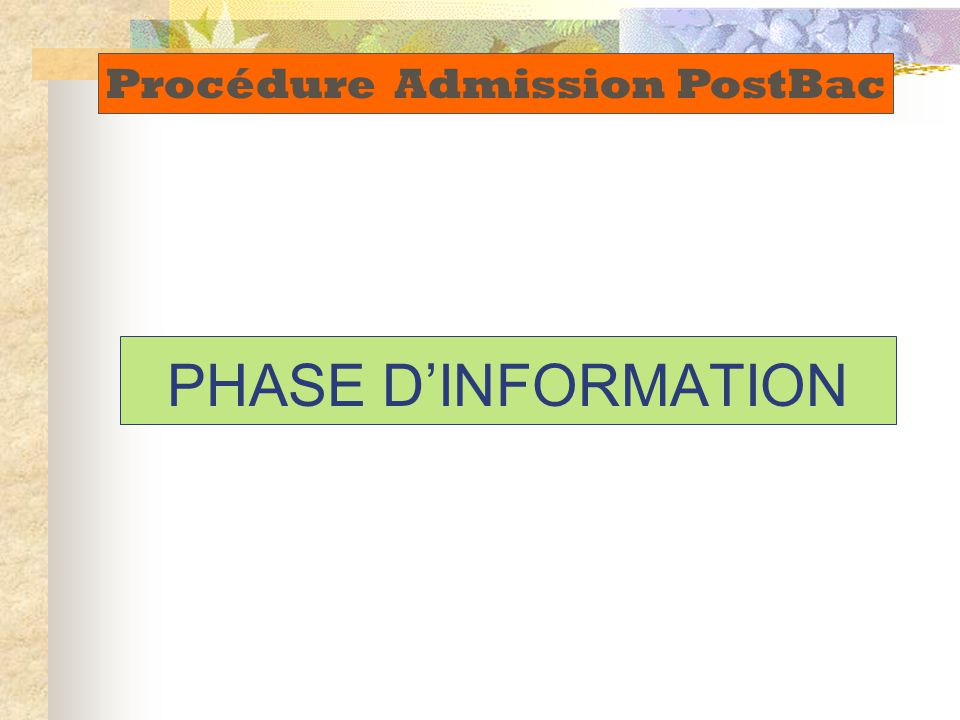 Procédure Admission PostBac