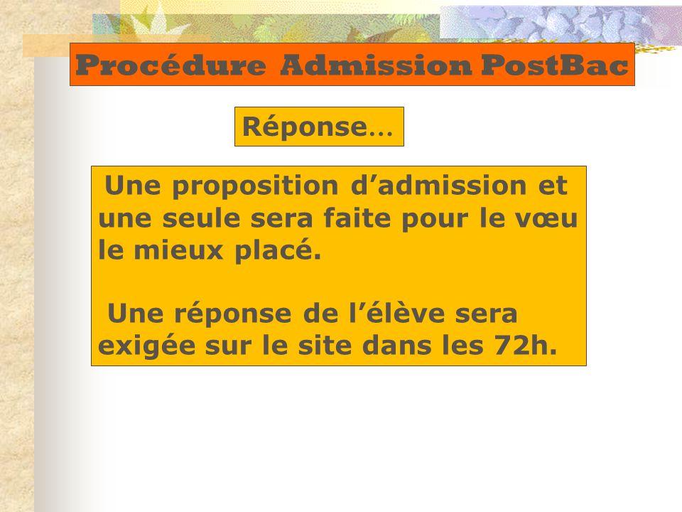 Une proposition d'admission et une seule sera faite pour le vœu le mieux placé. Une réponse de l'élève sera exigée sur le site dans les 72h. Procédure