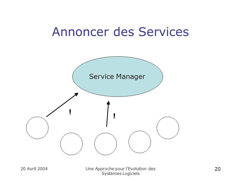 20 Avril 2004Une Approche pour l'Evolution des Systèmes Logiciels 19 Entités et Service Manager Service Manager Entités