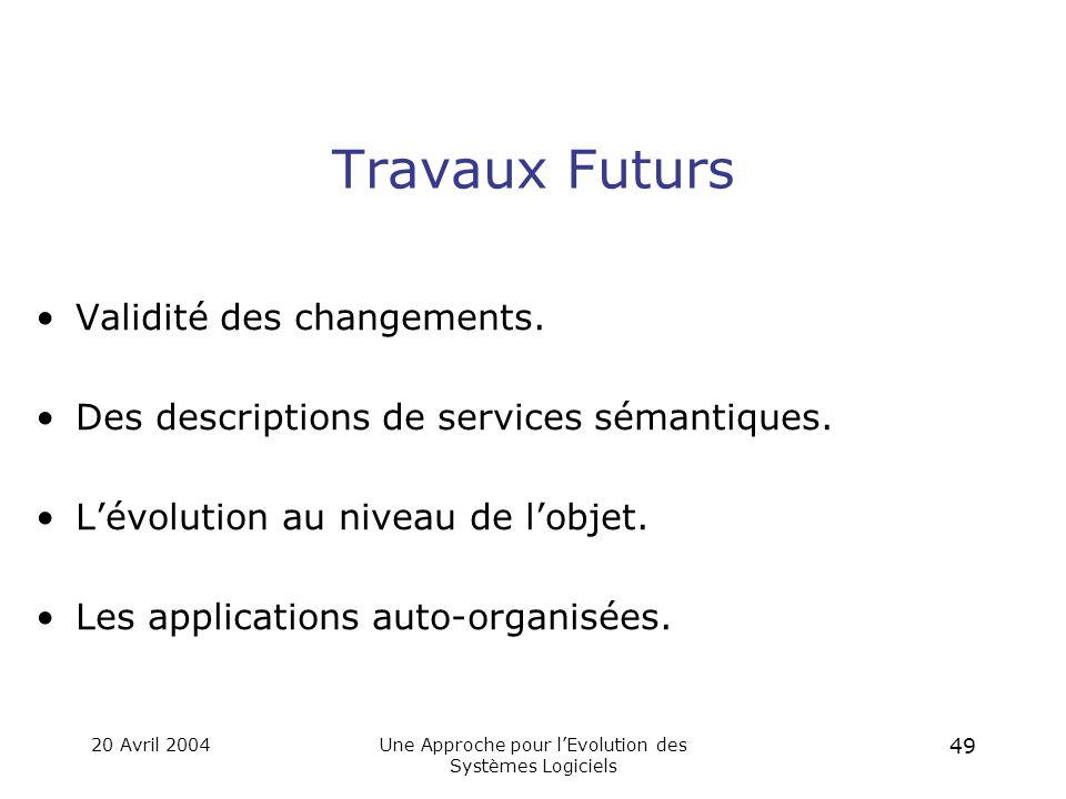 20 Avril 2004Une Approche pour l'Evolution des Systèmes Logiciels 48 Conclusion Un modèle pour les évolutions non-anticipées, non-contraintes et dynamiques.