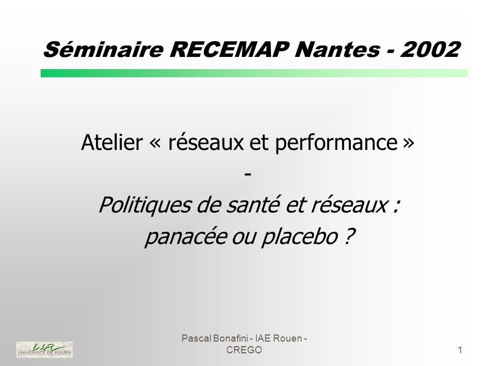 Pascal Bonafini - IAE Rouen - CREGO1 Séminaire RECEMAP Nantes - 2002 Atelier « réseaux et performance » - Politiques de santé et réseaux : panacée ou placebo ?