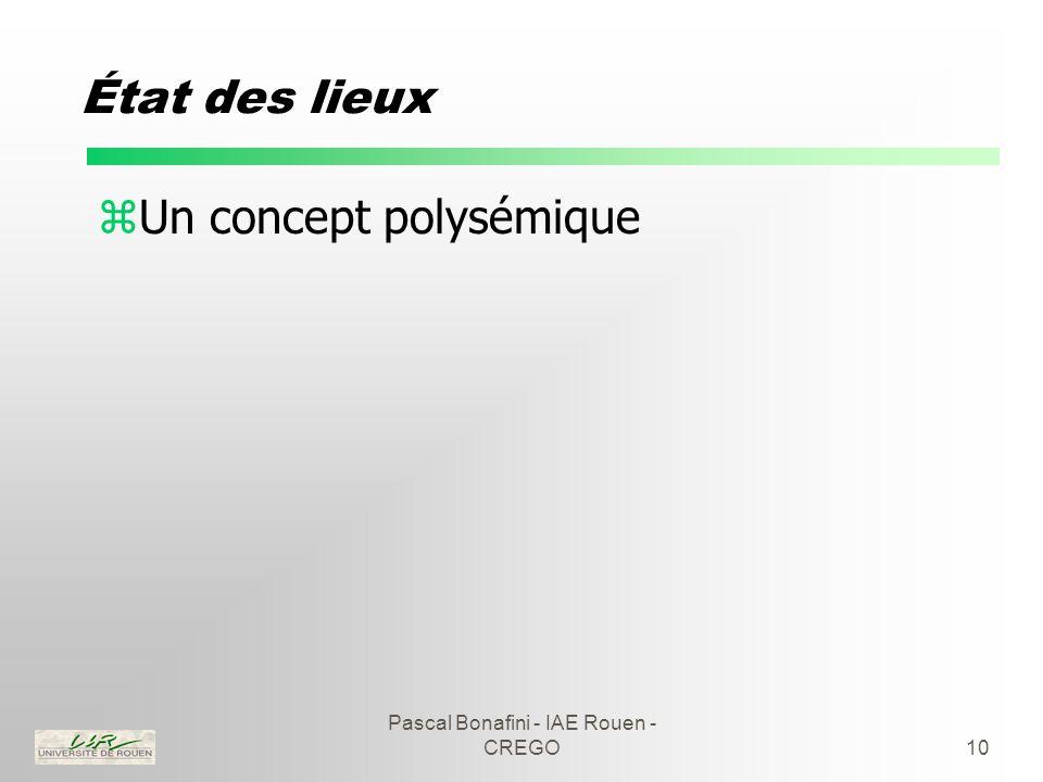 Pascal Bonafini - IAE Rouen - CREGO10 État des lieux zUn concept polysémique