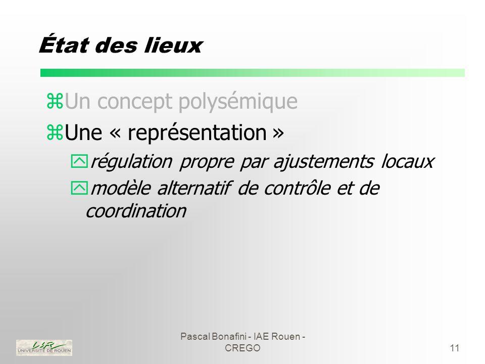 Pascal Bonafini - IAE Rouen - CREGO11 État des lieux zUn concept polysémique zUne « représentation » yrégulation propre par ajustements locaux ymodèle alternatif de contrôle et de coordination