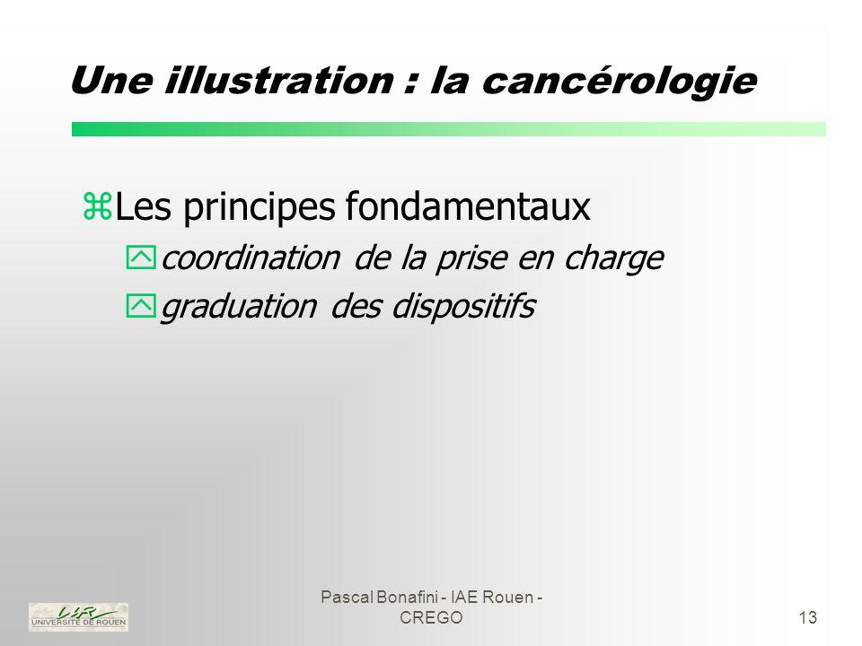 Pascal Bonafini - IAE Rouen - CREGO13 Une illustration : la cancérologie zLes principes fondamentaux ycoordination de la prise en charge ygraduation des dispositifs