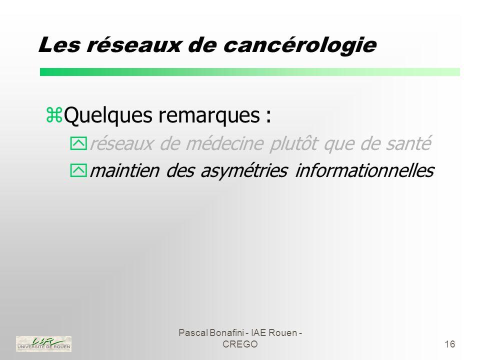 Pascal Bonafini - IAE Rouen - CREGO16 Les réseaux de cancérologie zQuelques remarques : yréseaux de médecine plutôt que de santé ymaintien des asymétries informationnelles