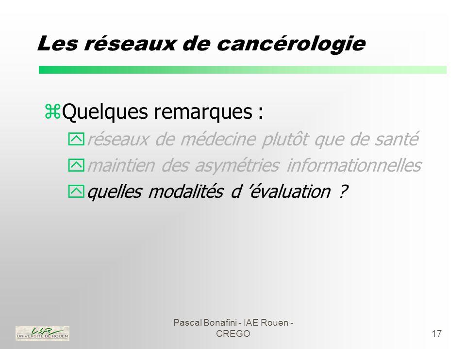 Pascal Bonafini - IAE Rouen - CREGO17 Les réseaux de cancérologie zQuelques remarques : yréseaux de médecine plutôt que de santé ymaintien des asymétries informationnelles yquelles modalités d 'évaluation ?