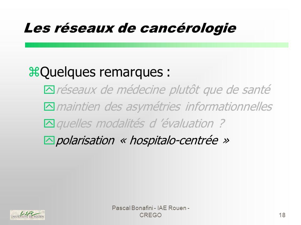 Pascal Bonafini - IAE Rouen - CREGO18 Les réseaux de cancérologie zQuelques remarques : yréseaux de médecine plutôt que de santé ymaintien des asymétries informationnelles yquelles modalités d 'évaluation .