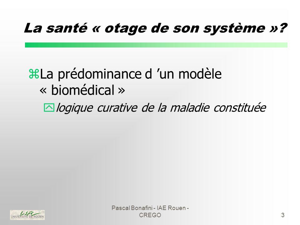 Pascal Bonafini - IAE Rouen - CREGO14 Une illustration : la cancérologie zLes principes fondamentaux ycoordination de la prise en charge ygraduation des dispositifs zModes de coordination : yconcertation pluridisciplinaire yélaboration de référentiels de pratiques ypartage des systèmes d 'information