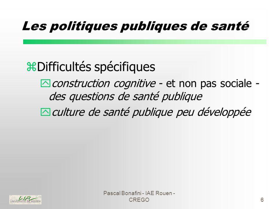 Pascal Bonafini - IAE Rouen - CREGO6 Les politiques publiques de santé zDifficultés spécifiques yconstruction cognitive - et non pas sociale - des questions de santé publique yculture de santé publique peu développée