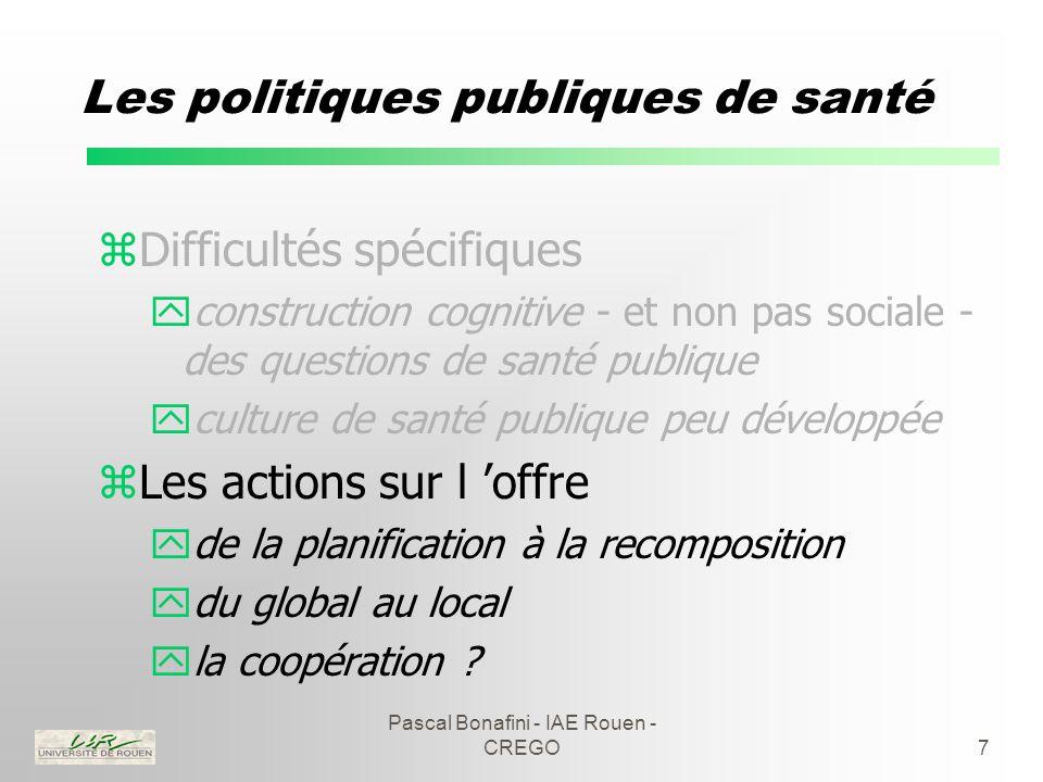 Pascal Bonafini - IAE Rouen - CREGO7 Les politiques publiques de santé zDifficultés spécifiques yconstruction cognitive - et non pas sociale - des questions de santé publique yculture de santé publique peu développée zLes actions sur l 'offre yde la planification à la recomposition ydu global au local yla coopération
