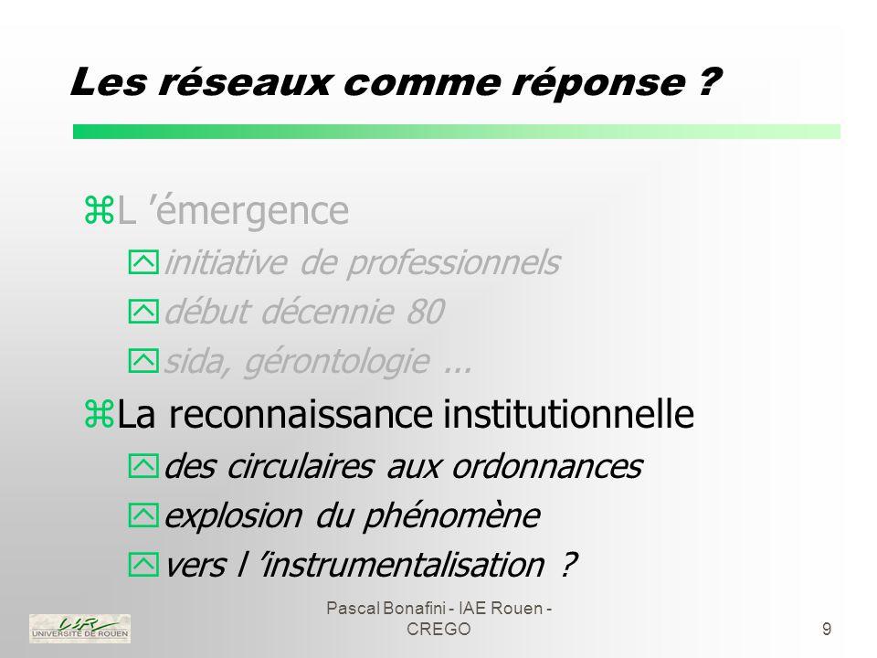 Pascal Bonafini - IAE Rouen - CREGO20 Les réseaux de cancérologie zQuelques remarques : yréseaux de médecine plutôt que de santé ymaintien des asymétries informationnelles yquelles modalités d 'évaluation .