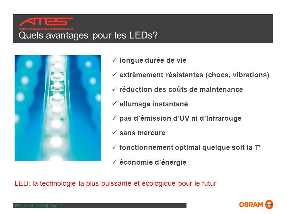 LED | octobre 2010| Page 3 Quels avantages pour les LEDs.