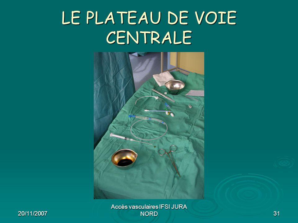 20/11/2007 Accès vasculaires IFSI JURA NORD31 LE PLATEAU DE VOIE CENTRALE