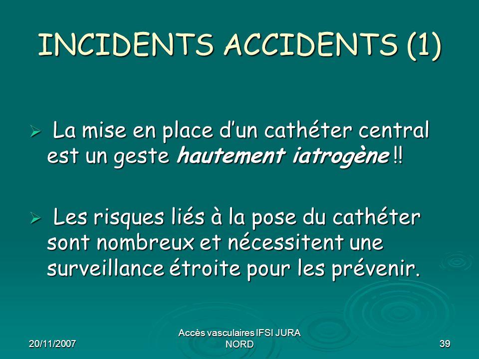 20/11/2007 Accès vasculaires IFSI JURA NORD39 INCIDENTS ACCIDENTS (1)  La mise en place d'un cathéter central est un geste hautement iatrogène !!  L