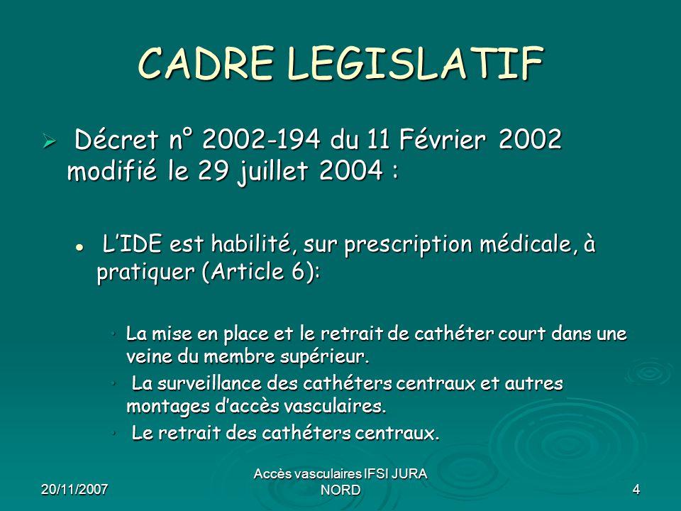20/11/2007 Accès vasculaires IFSI JURA NORD4 CADRE LEGISLATIF  Décret n° 2002-194 du 11 Février 2002 modifié le 29 juillet 2004 : L'IDE est habilité,