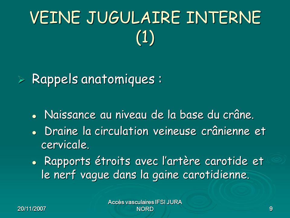 20/11/2007 Accès vasculaires IFSI JURA NORD9 VEINE JUGULAIRE INTERNE (1)  Rappels anatomiques : Naissance au niveau de la base du crâne. Naissance au