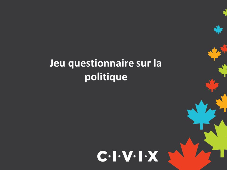 Jeu questionnaire sur la politique