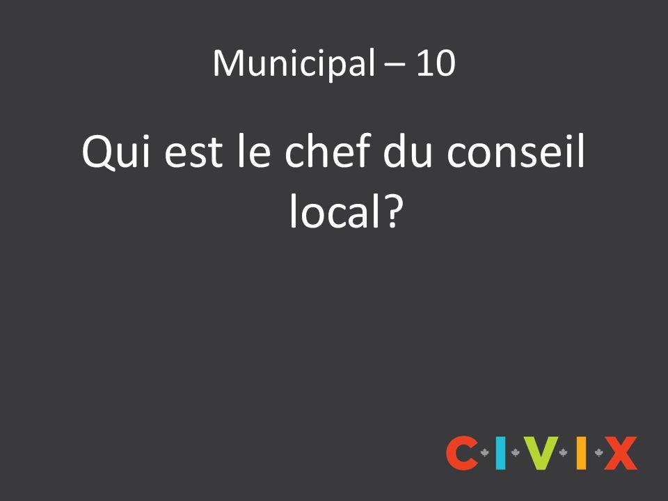 Municipal – 10 Qui est le chef du conseil local
