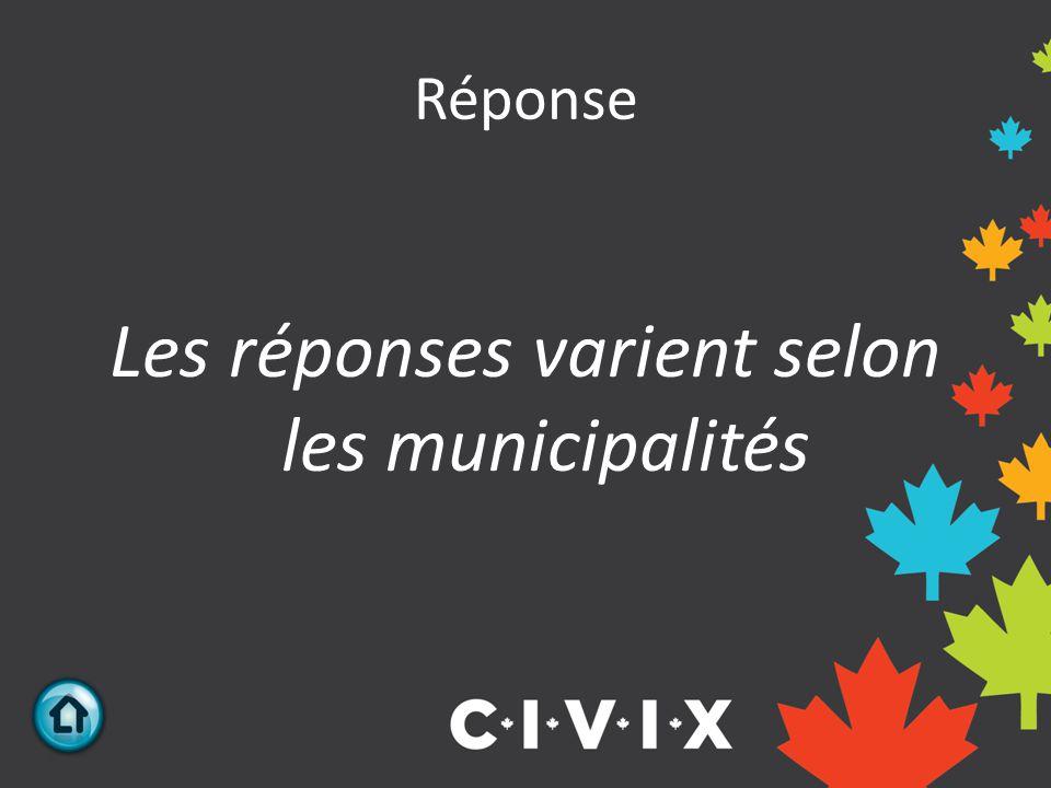 Réponse Les réponses varient selon les municipalités