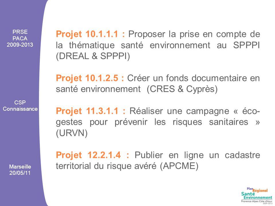 Projet 10.1.1.1 : Proposer la prise en compte de la thématique santé environnement au SPPPI (DREAL & SPPPI) Projet 10.1.2.5 : Créer un fonds documentaire en santé environnement (CRES & Cyprès) Projet 11.3.1.1 : Réaliser une campagne « éco- gestes pour prévenir les risques sanitaires » (URVN) Projet 12.2.1.4 : Publier en ligne un cadastre territorial du risque avéré (APCME) PRSE PACA 2009-2013 CSP Connaissance Marseille 20/05/11