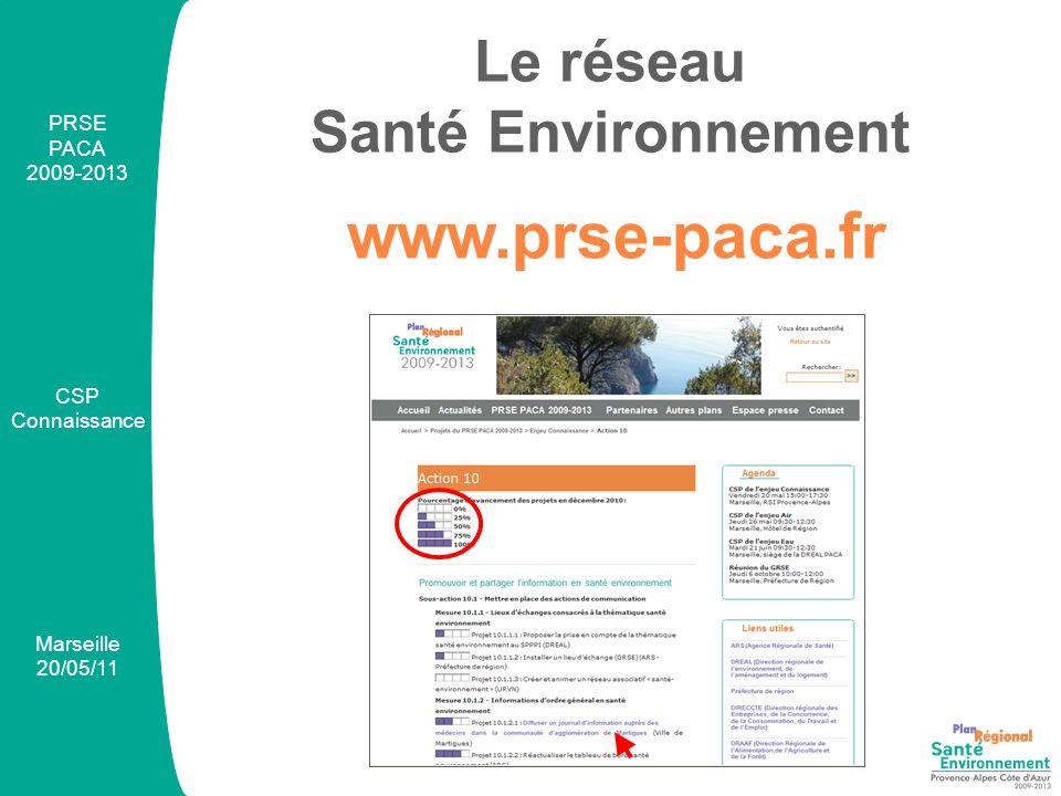 PRSE PACA 2009-2013 CSP Connaissance Marseille 20/05/11 Newsletter@prse-paca.fr Le réseau Santé Environnement