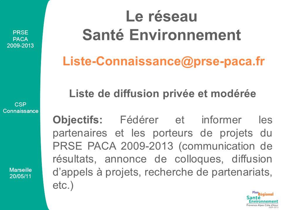 PRSE PACA 2009-2013 CSP Connaissance Marseille 20/05/11 Liste-Connaissance@prse-paca.fr Le réseau Santé Environnement Liste de diffusion privée et modérée Objectifs: Fédérer et informer les partenaires et les porteurs de projets du PRSE PACA 2009-2013 (communication de résultats, annonce de colloques, diffusion d'appels à projets, recherche de partenariats, etc.)