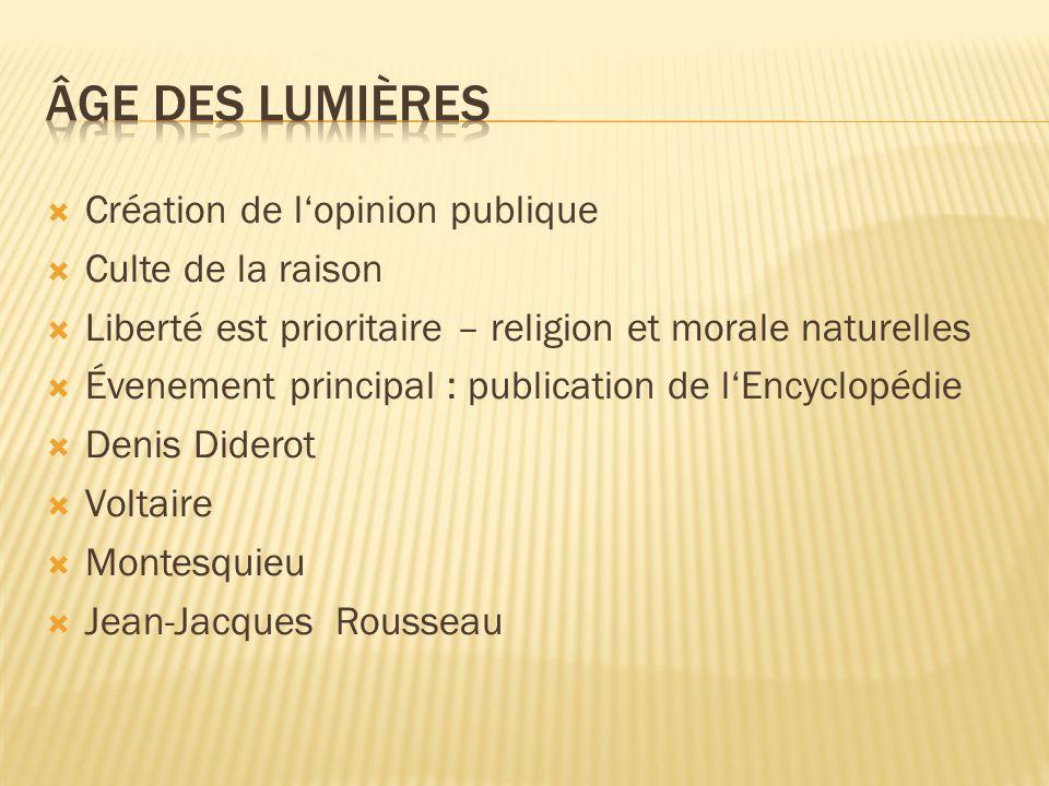  Création de l'opinion publique  Culte de la raison  Liberté est prioritaire – religion et morale naturelles  Évenement principal : publication de l'Encyclopédie  Denis Diderot  Voltaire  Montesquieu  Jean-Jacques Rousseau