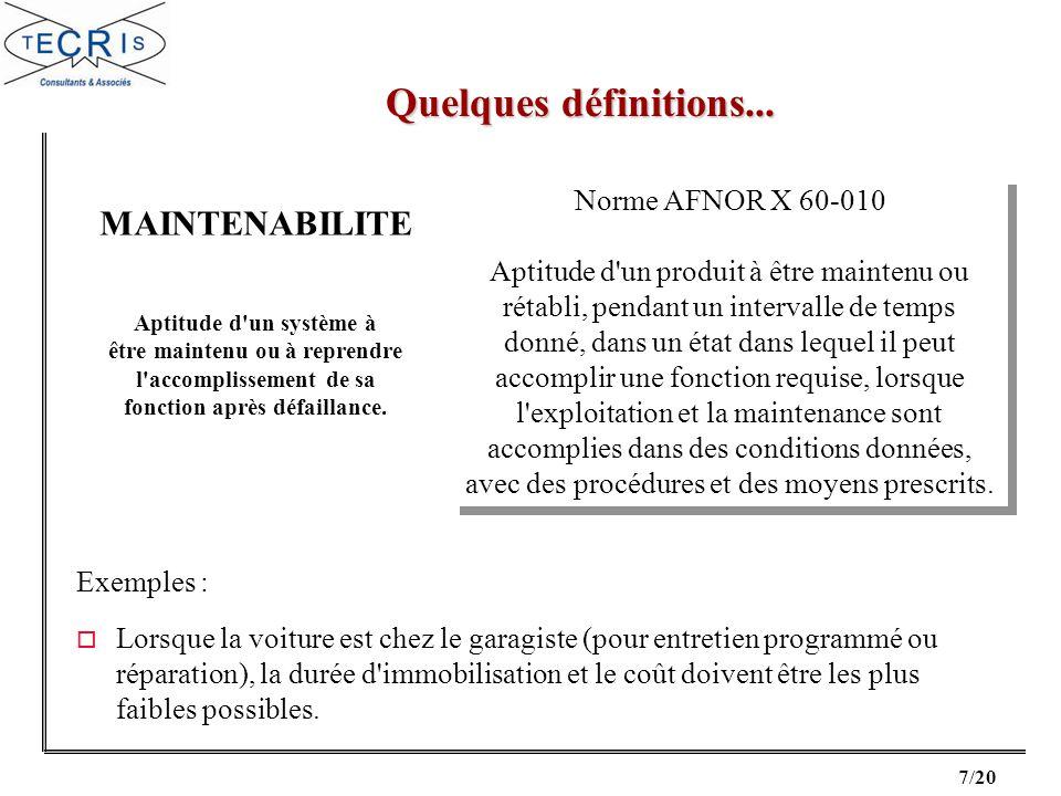 18/20 Banques de données Expérience constructeur AMDEC Synthèse Essais Revue, analyse A.F.