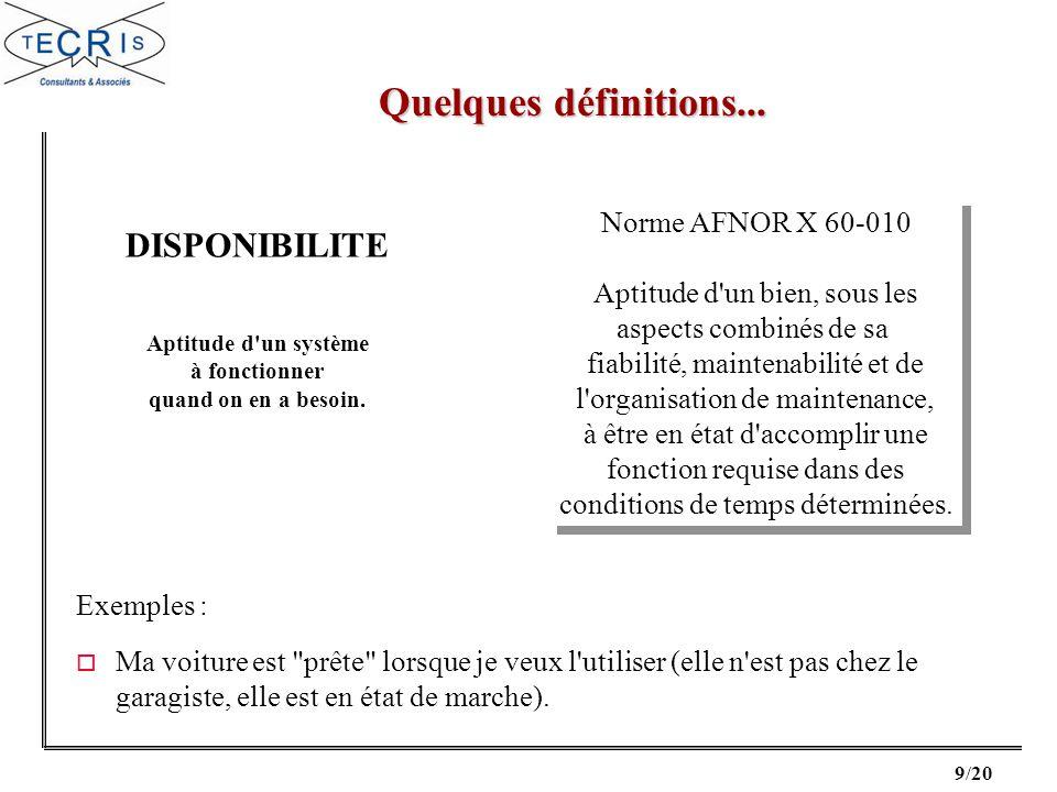 20/20 o Maintenance Industrielle AFNOR o Sûreté de fonctionnement des systèmes industriels Alain VILLEMEUR - Eyrolles (1988) Bibliographie