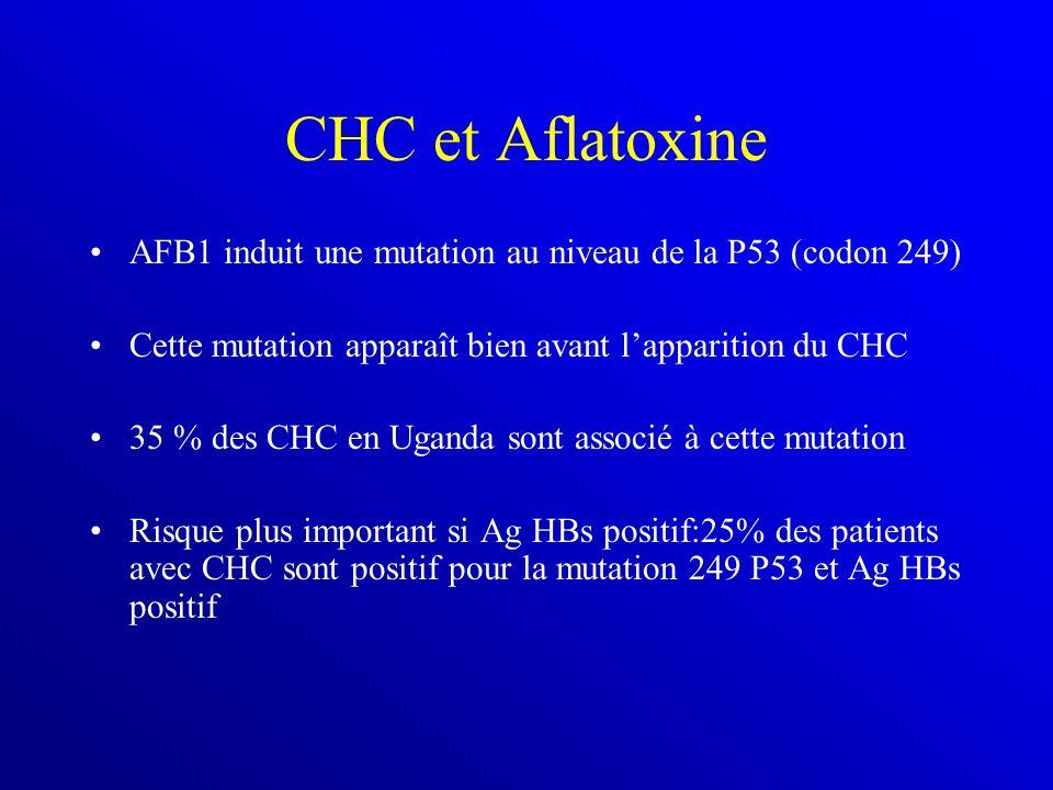CHC et Aflatoxine AFB1 induit une mutation au niveau de la P53 (codon 249) Cette mutation apparaît bien avant l'apparition du CHC 35 % des CHC en Uganda sont associé à cette mutation Risque plus important si Ag HBs positif:25% des patients avec CHC sont positif pour la mutation 249 P53 et Ag HBs positif