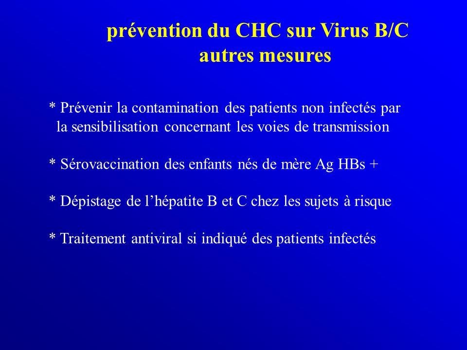 prévention du CHC sur Virus B/C autres mesures * Prévenir la contamination des patients non infectés par la sensibilisation concernant les voies de tr
