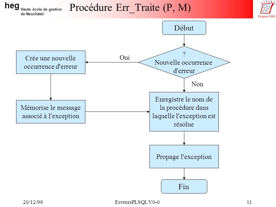 heg Haute école de gestion de Neuchâtel 20/12/99ErreursPLSQL V0-011 Procédure Err_Traite (P, M) Crée une nouvelle occurrence d erreur .