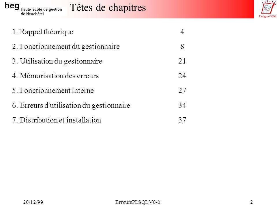 heg Haute école de gestion de Neuchâtel 20/12/99ErreursPLSQL V0-02 Têtes de chapitres 1.