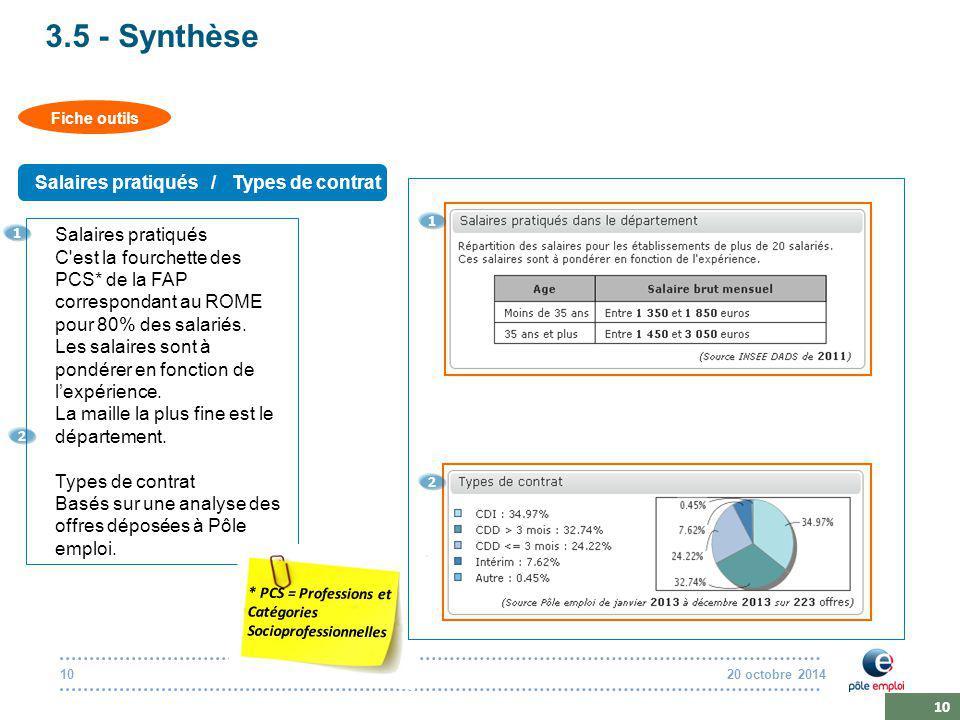 20 octobre 201410 3.5 - Synthèse Fiche outils Salaires pratiqués / Types de contrat Salaires pratiqués C est la fourchette des PCS* de la FAP correspondant au ROME pour 80% des salariés.