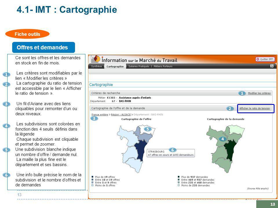 20 octobre 201413 4.1- IMT : Cartographie Ce sont les offres et les demandes en stock en fin de mois.