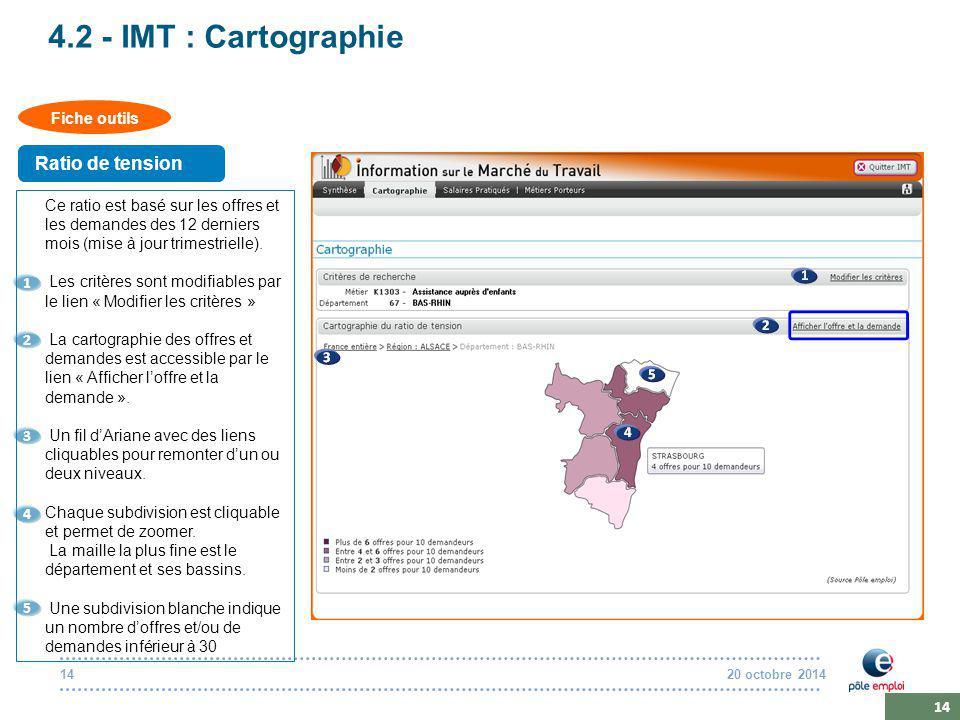 20 octobre 201414 4.2 - IMT : Cartographie Ce ratio est basé sur les offres et les demandes des 12 derniers mois (mise à jour trimestrielle).