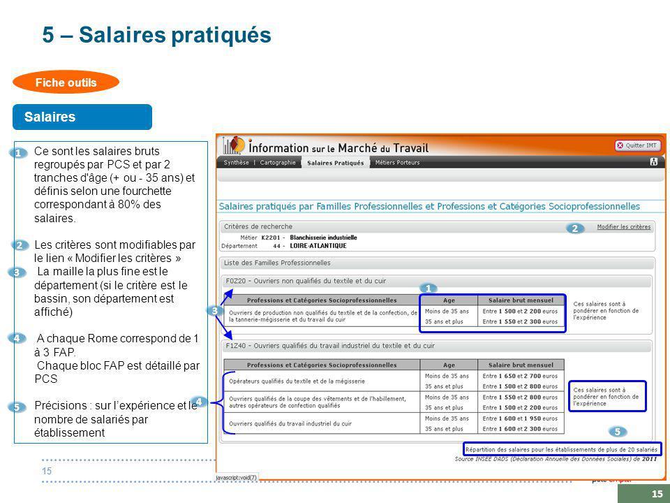 20 octobre 201415 5 – Salaires pratiqués Ce sont les salaires bruts regroupés par PCS et par 2 tranches d âge (+ ou - 35 ans) et définis selon une fourchette correspondant à 80% des salaires.