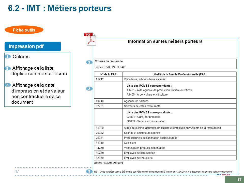 20 octobre 201417 6.2 - IMT : Métiers porteurs Critères Affichage de la liste dépliée comme sur l'écran Affichage de la date d'impression et de valeur non contractuelle de ce document 1 1 2 2 3 3 Fiche outils Impression pdf