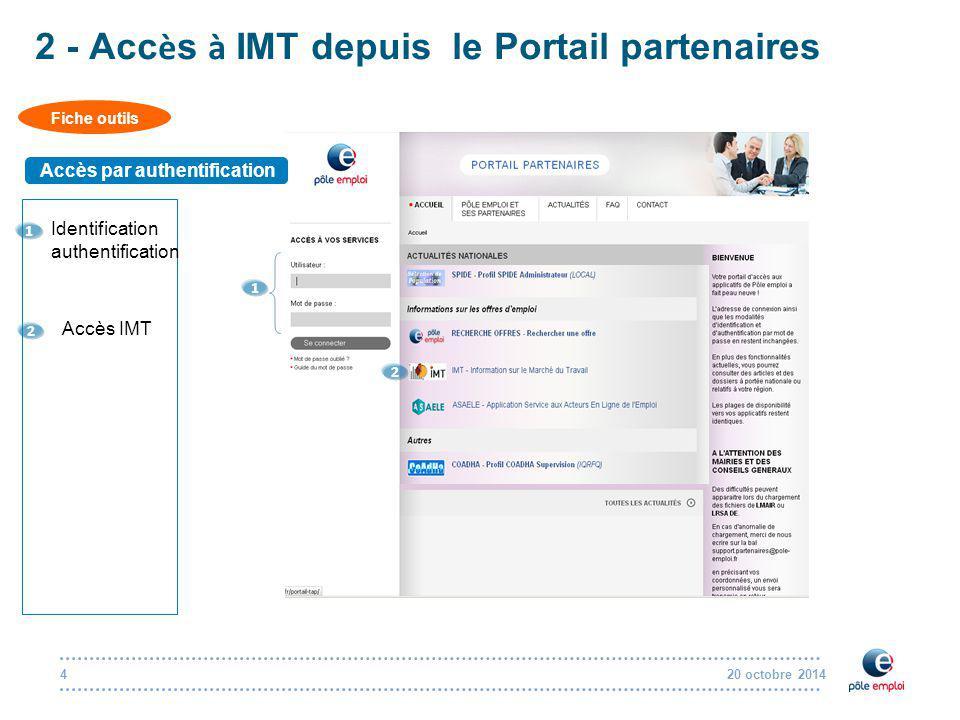 20 octobre 20144 2 - Acc è s à IMT depuis le Portail partenaires Fiche outils Accès par authentification 1 Identification authentification 1 2 2 Accès IMT