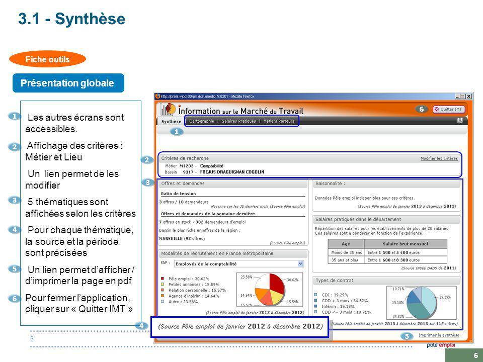 20 octobre 20146 6 3.1 - Synthèse Les autres écrans sont accessibles.
