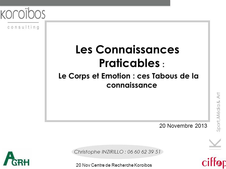 Sport, Média & Art 20 Nov Centre de Recherche Koroibos Les Connaissances Praticables : Le Corps et Emotion : ces Tabous de la connaissance Christophe