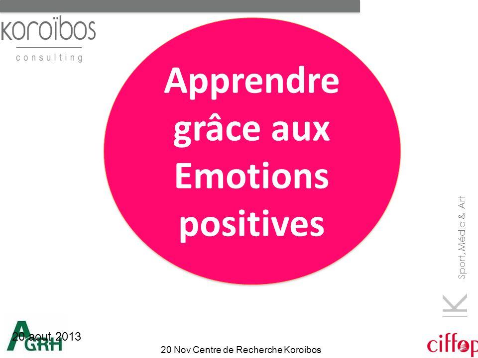 Sport, Média & Art 20 Nov Centre de Recherche Koroibos 20 aout 2013 Apprendre grâce aux Emotions positives Apprendre grâce aux Emotions positives