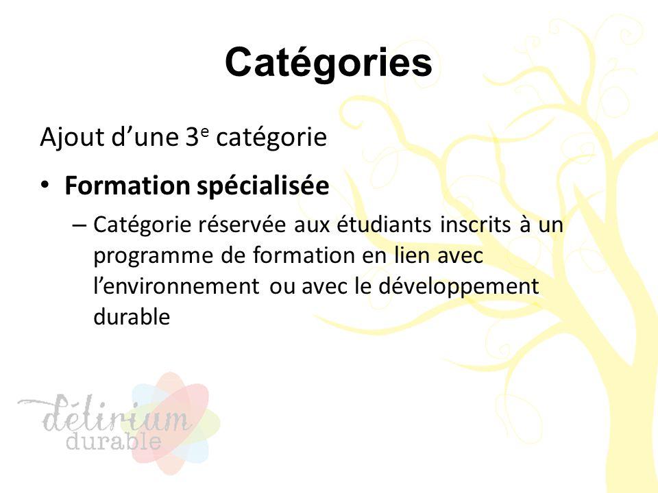 Catégories Ajout d'une 3 e catégorie Formation spécialisée – Catégorie réservée aux étudiants inscrits à un programme de formation en lien avec l'envi